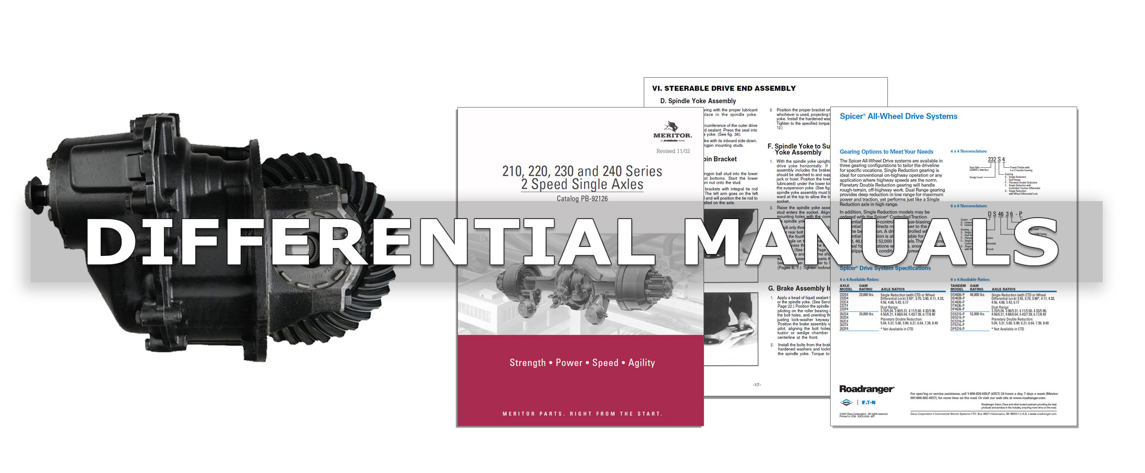 Differential Service Manuals, Installation Manuals and Parts List